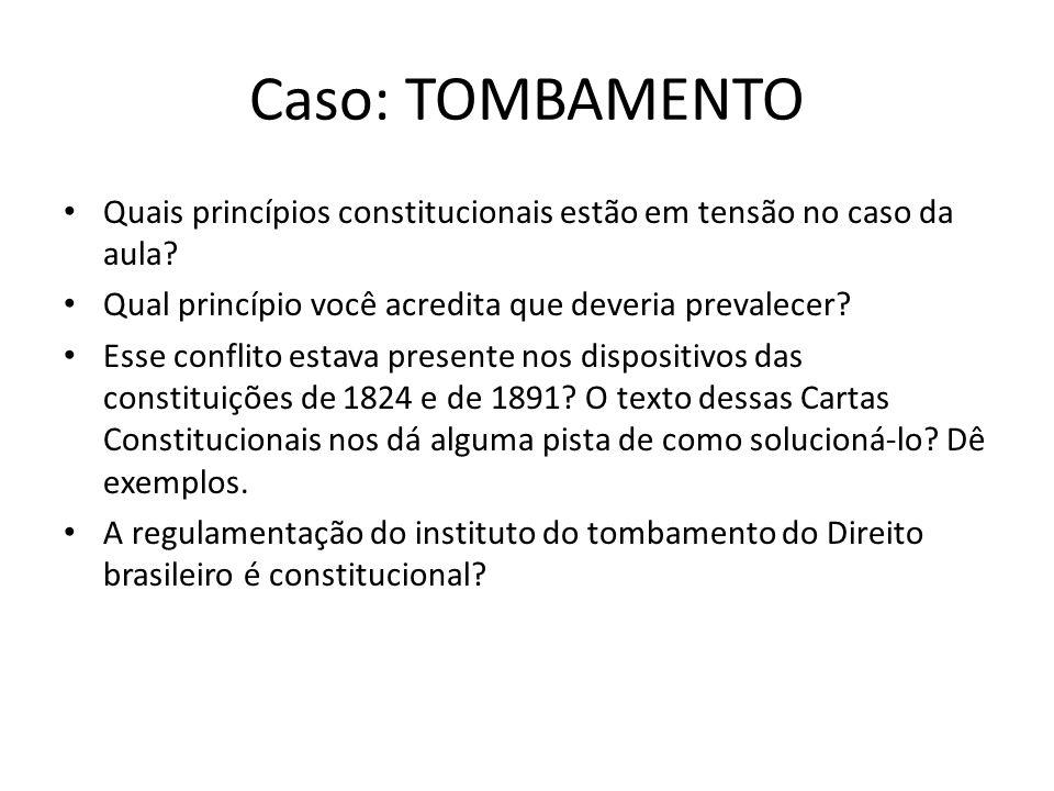 Caso: TOMBAMENTO Quais princípios constitucionais estão em tensão no caso da aula Qual princípio você acredita que deveria prevalecer