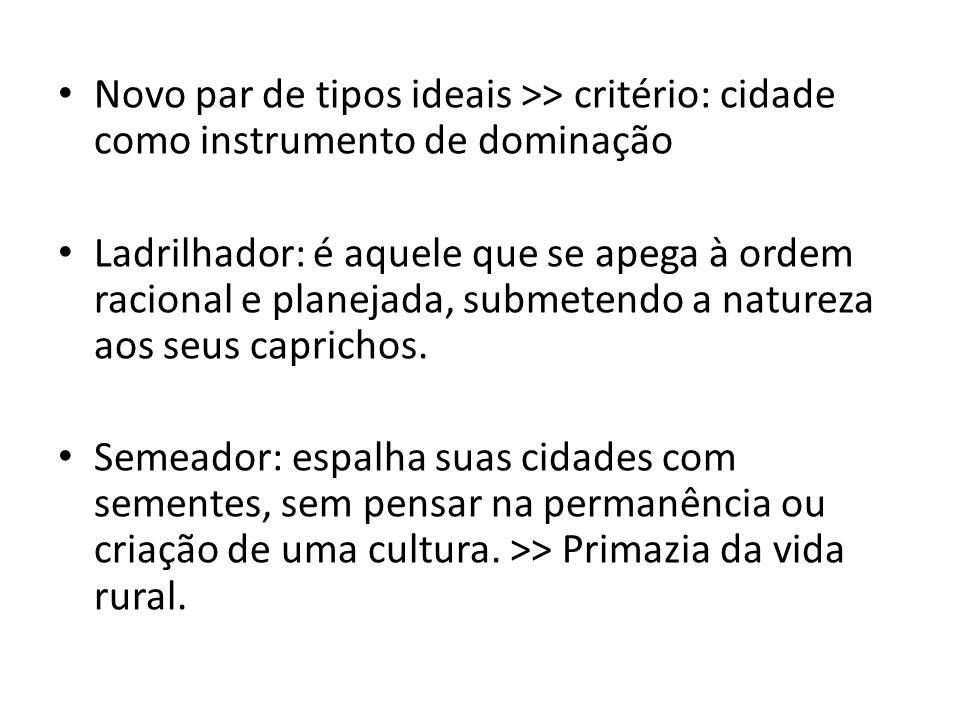 Novo par de tipos ideais >> critério: cidade como instrumento de dominação