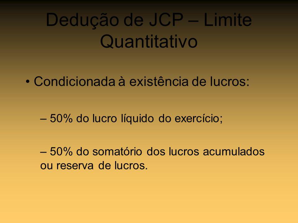 Dedução de JCP – Limite Quantitativo
