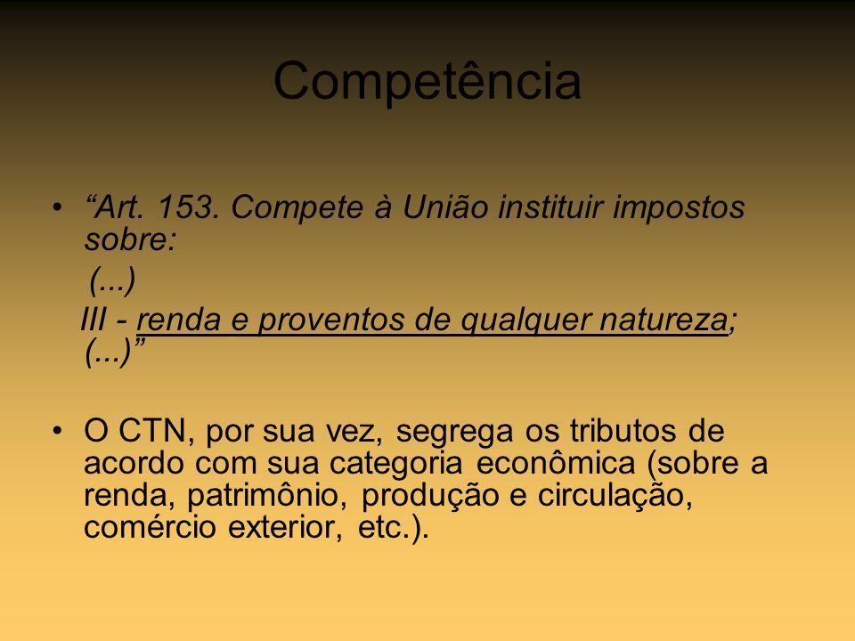 Competência Art. 153. Compete à União instituir impostos sobre: (...)