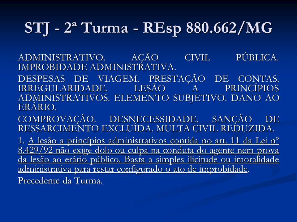 STJ - 2ª Turma - REsp 880.662/MG ADMINISTRATIVO. AÇÃO CIVIL PÚBLICA. IMPROBIDADE ADMINISTRATIVA.