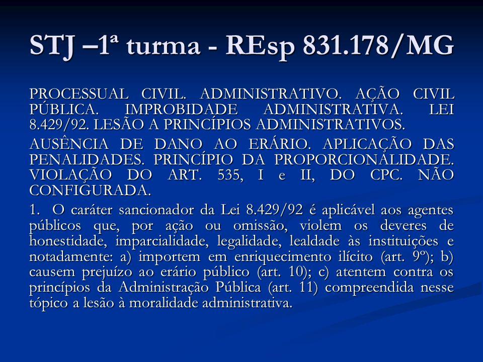 STJ –1ª turma - REsp 831.178/MG