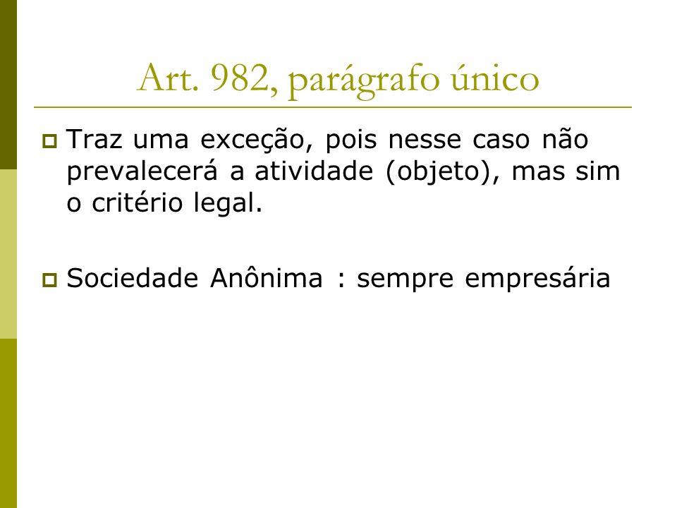 Art. 982, parágrafo único Traz uma exceção, pois nesse caso não prevalecerá a atividade (objeto), mas sim o critério legal.