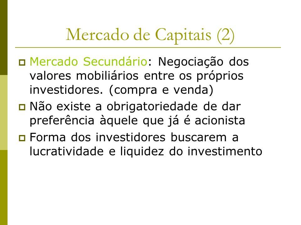 Mercado de Capitais (2) Mercado Secundário: Negociação dos valores mobiliários entre os próprios investidores. (compra e venda)