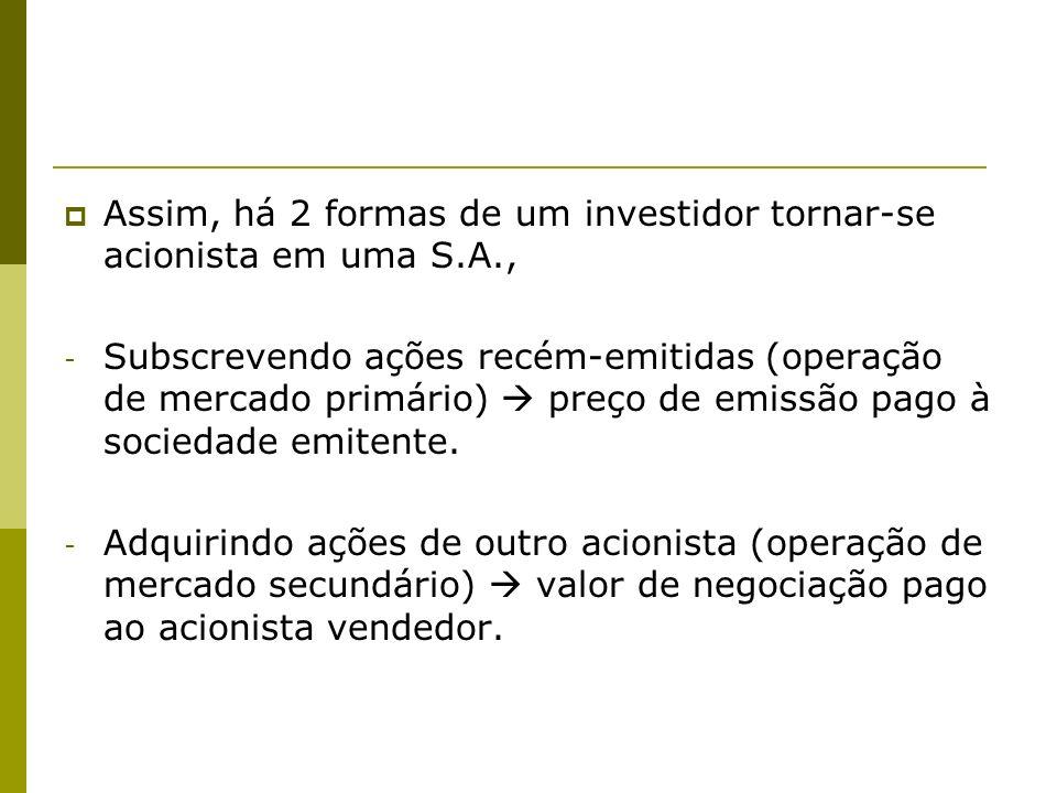 Assim, há 2 formas de um investidor tornar-se acionista em uma S.A.,