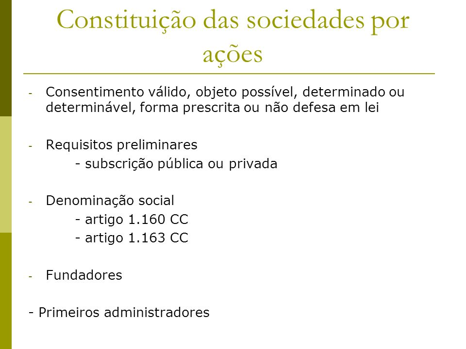 Constituição das sociedades por ações