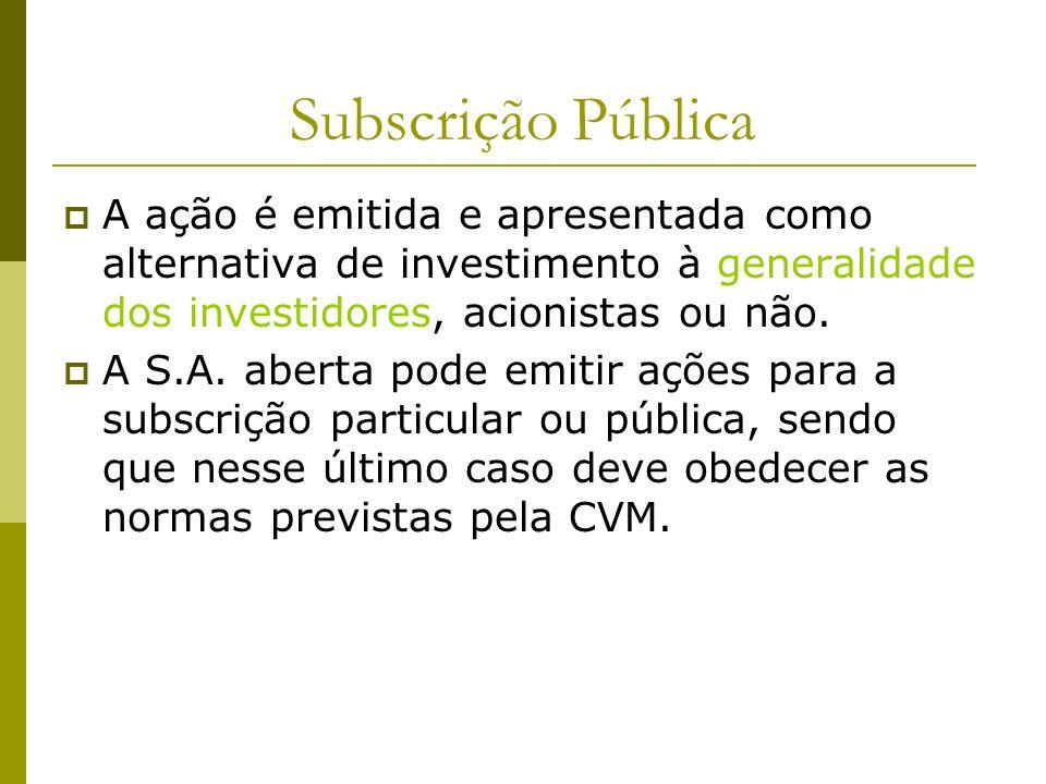 Subscrição Pública A ação é emitida e apresentada como alternativa de investimento à generalidade dos investidores, acionistas ou não.