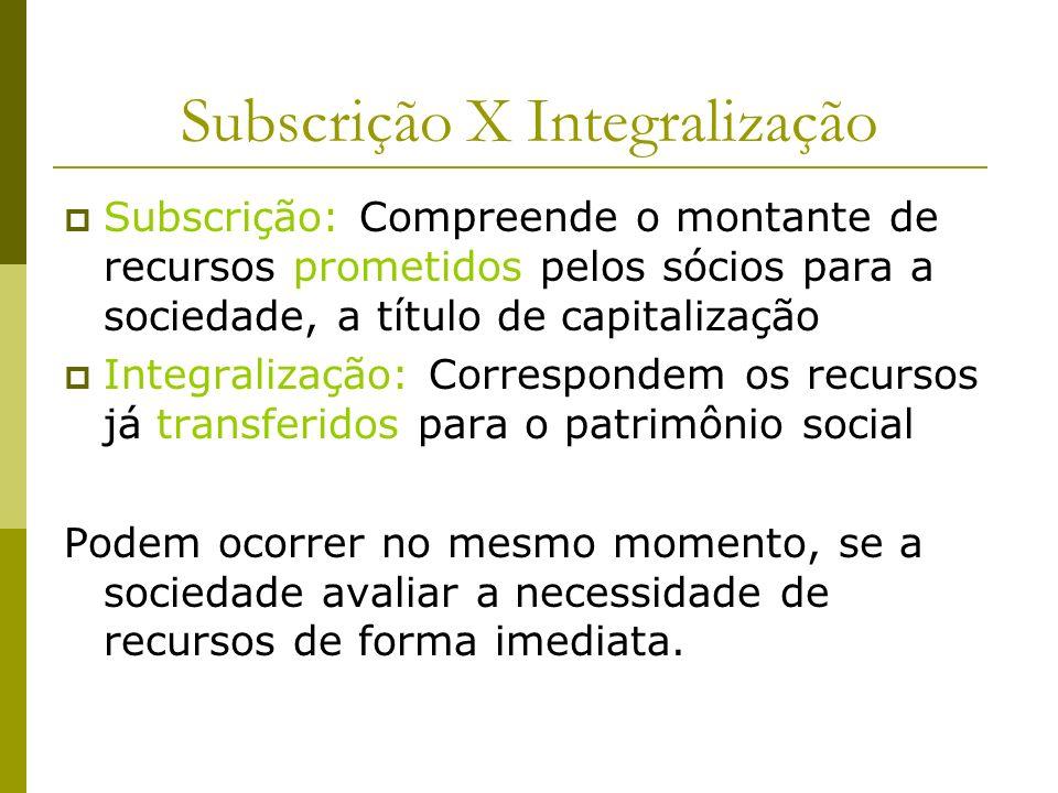 Subscrição X Integralização