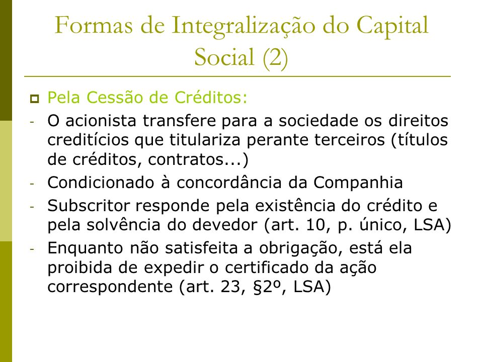 Formas de Integralização do Capital Social (2)