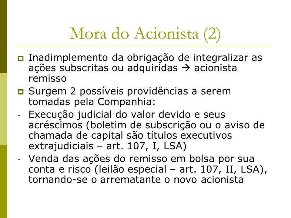 Mora do Acionista (2) Inadimplemento da obrigação de integralizar as ações subscritas ou adquiridas  acionista remisso.