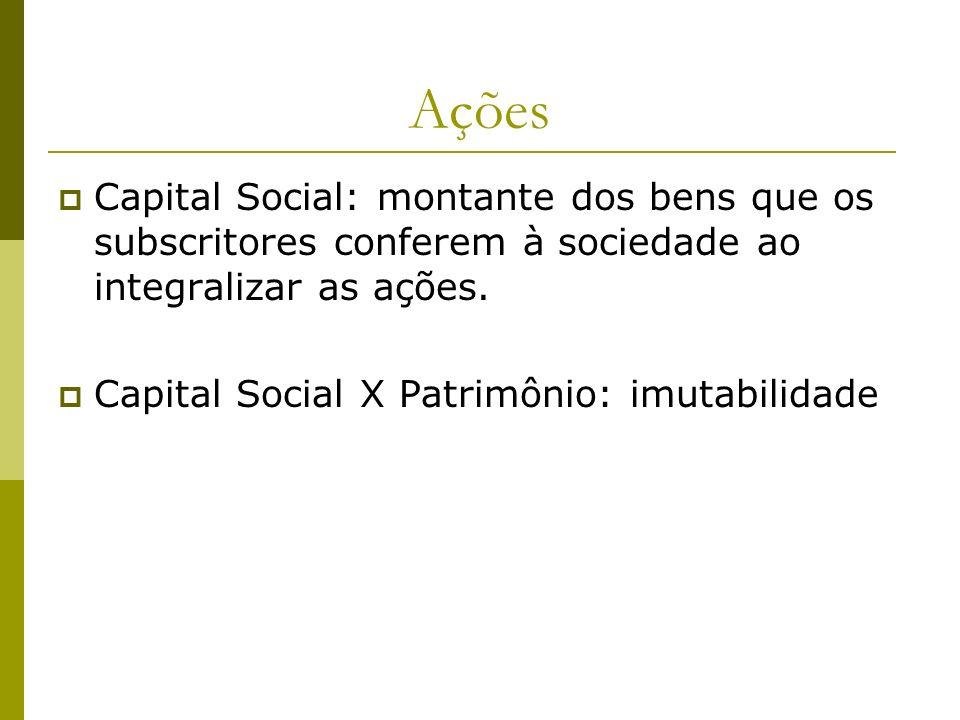 AçõesCapital Social: montante dos bens que os subscritores conferem à sociedade ao integralizar as ações.