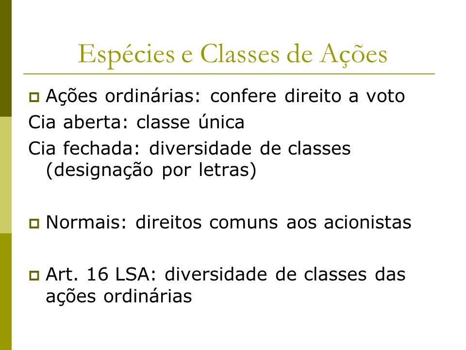 Espécies e Classes de Ações
