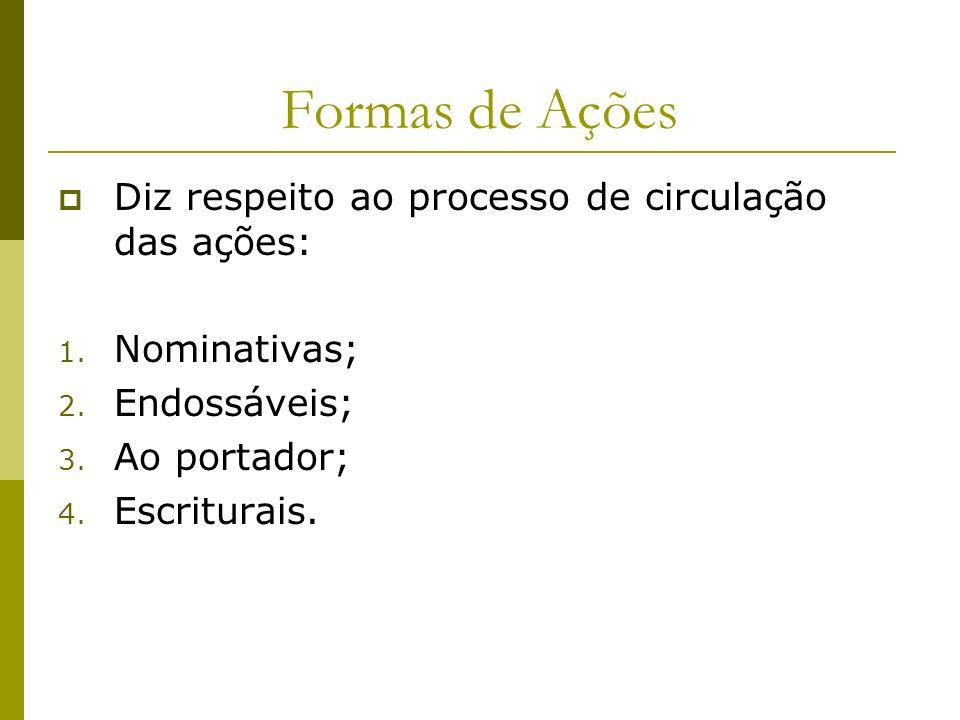 Formas de Ações Diz respeito ao processo de circulação das ações: