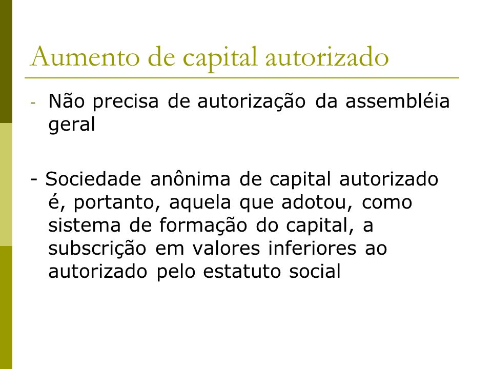Aumento de capital autorizado