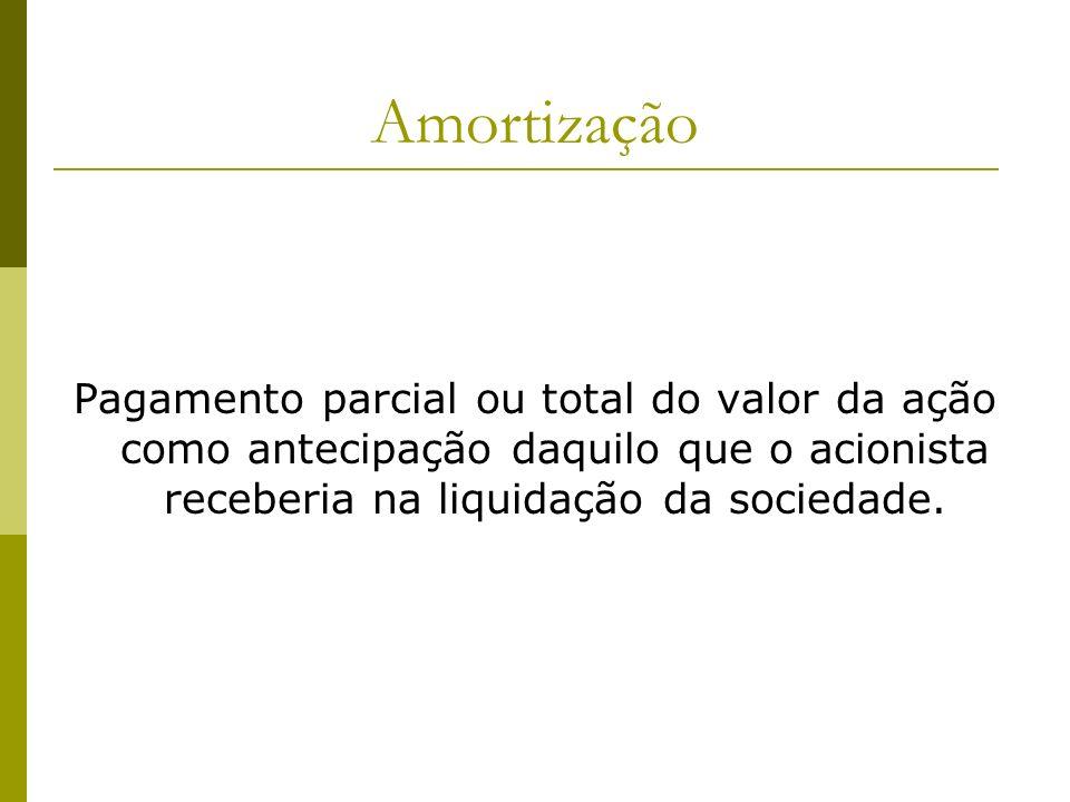 AmortizaçãoPagamento parcial ou total do valor da ação como antecipação daquilo que o acionista receberia na liquidação da sociedade.