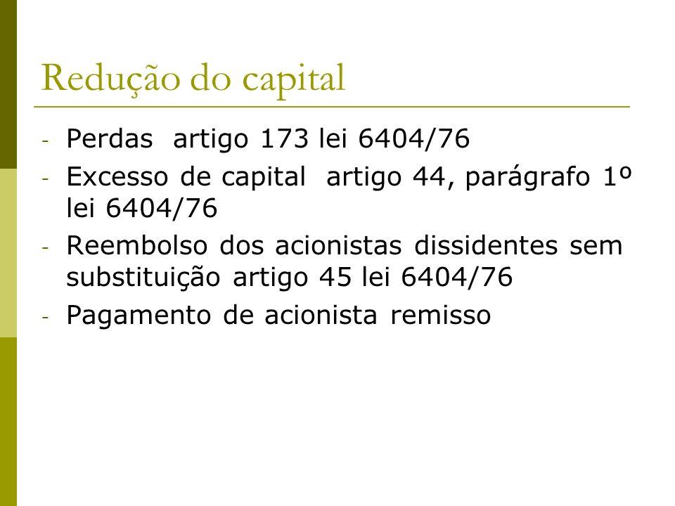 Redução do capital Perdas artigo 173 lei 6404/76