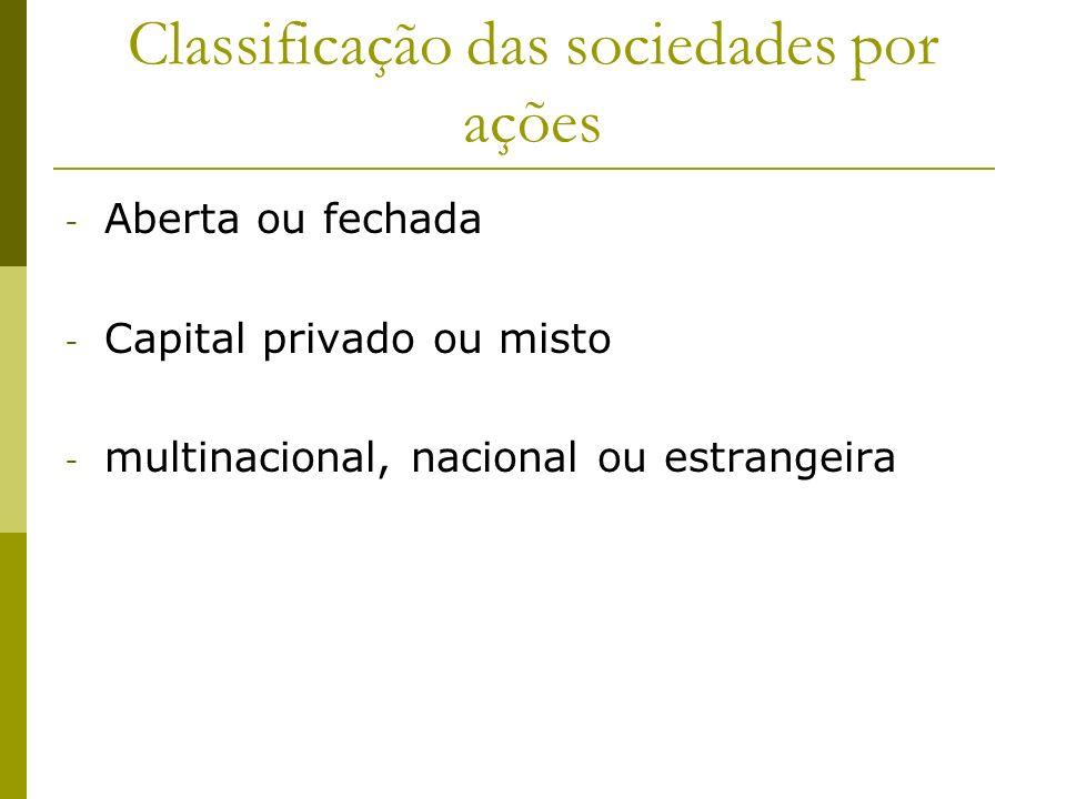 Classificação das sociedades por ações