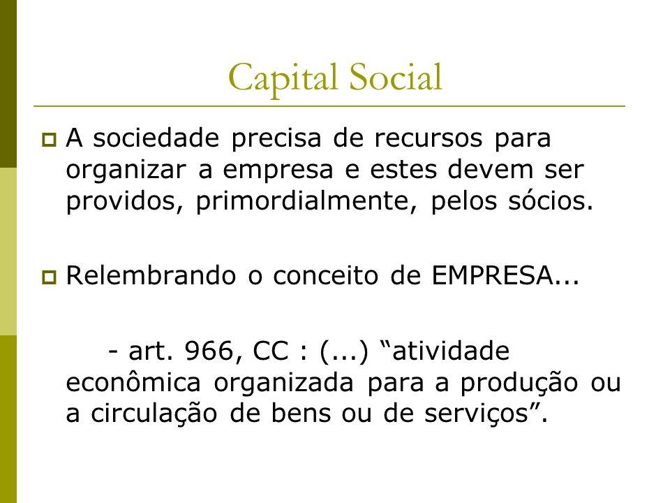 Capital Social A sociedade precisa de recursos para organizar a empresa e estes devem ser providos, primordialmente, pelos sócios.