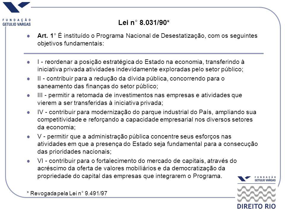 Lei n° 8.031/90* Art. 1° É instituído o Programa Nacional de Desestatização, com os seguintes objetivos fundamentais: