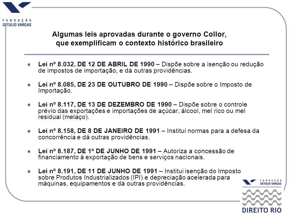 Algumas leis aprovadas durante o governo Collor, que exemplificam o contexto histórico brasileiro
