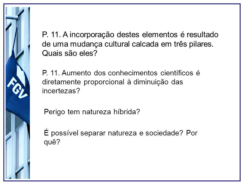 P. 11. A incorporação destes elementos é resultado de uma mudança cultural calcada em três pilares. Quais são eles