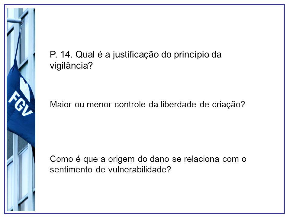 P. 14. Qual é a justificação do princípio da vigilância