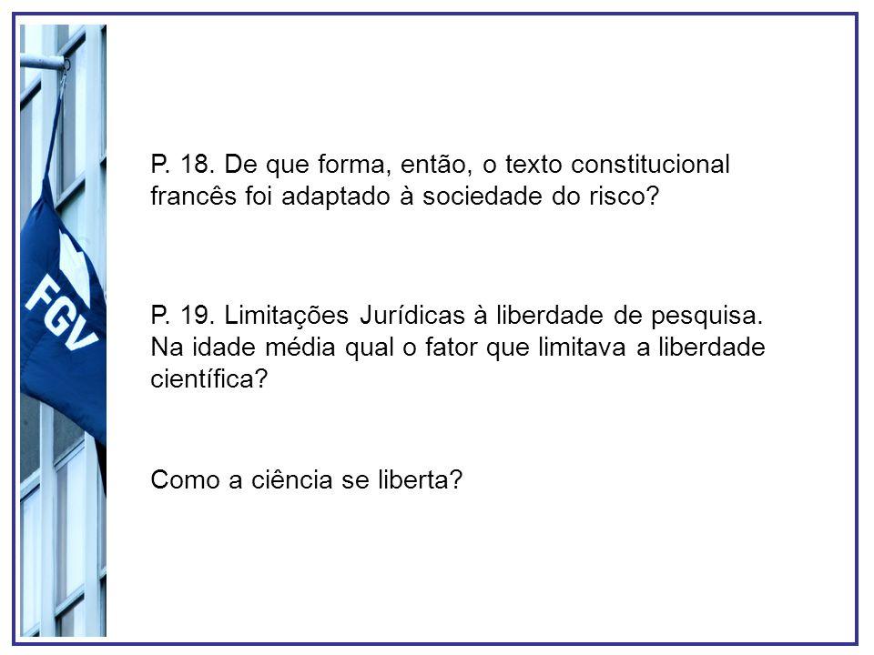 P. 18. De que forma, então, o texto constitucional francês foi adaptado à sociedade do risco