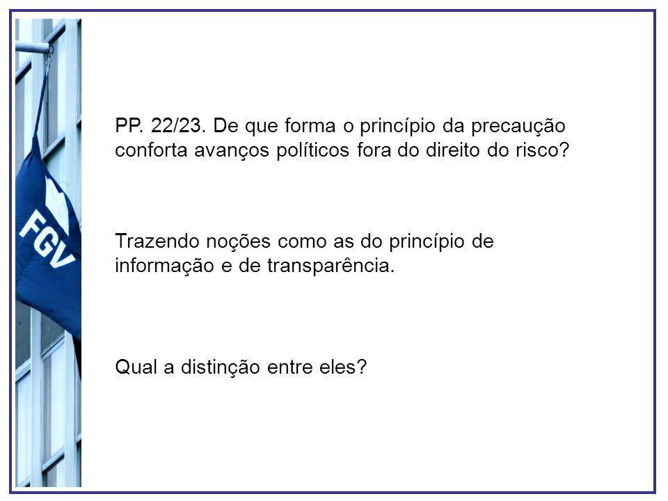 PP. 22/23. De que forma o princípio da precaução conforta avanços políticos fora do direito do risco