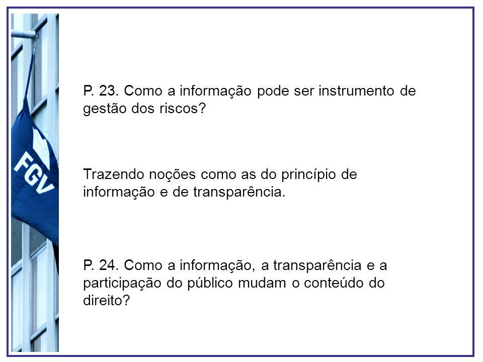 P. 23. Como a informação pode ser instrumento de gestão dos riscos
