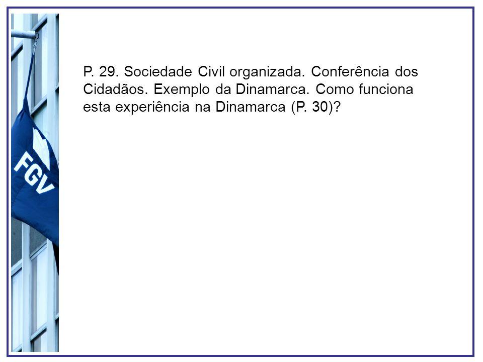 P. 29. Sociedade Civil organizada. Conferência dos Cidadãos