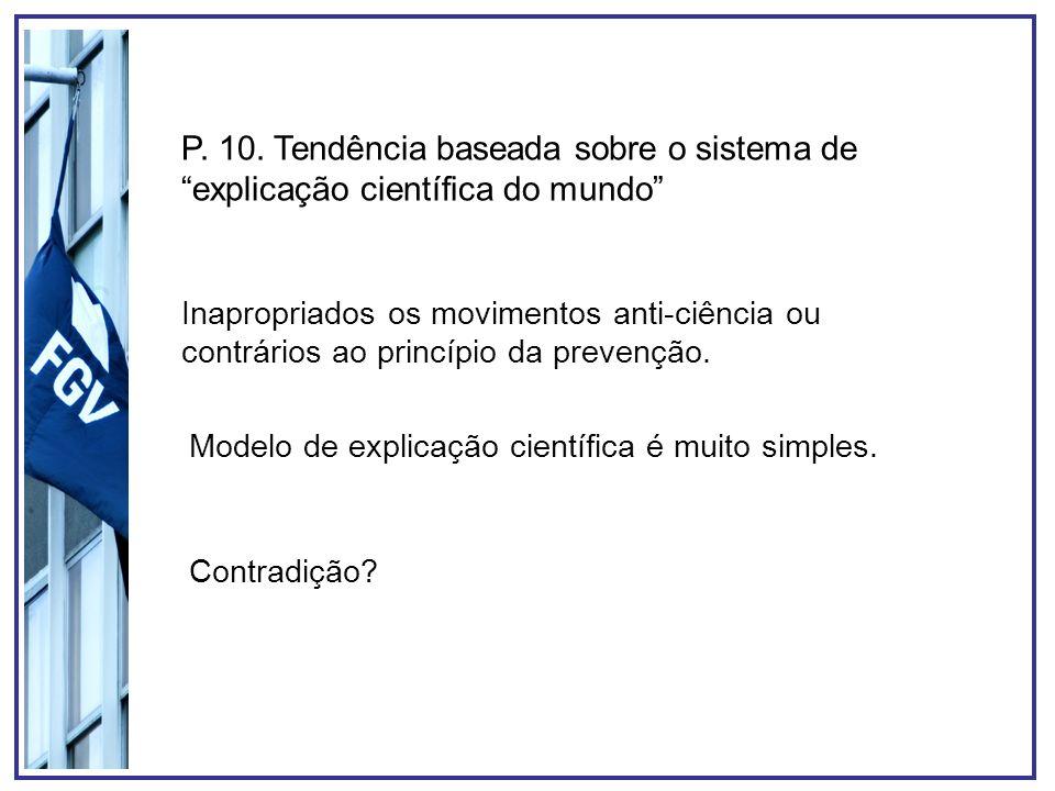 P. 10. Tendência baseada sobre o sistema de explicação científica do mundo