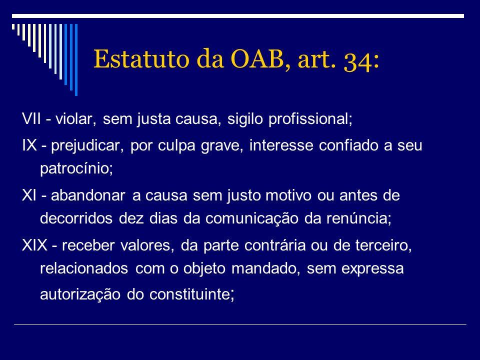 Estatuto da OAB, art. 34: VII - violar, sem justa causa, sigilo profissional; IX - prejudicar, por culpa grave, interesse confiado a seu patrocínio;