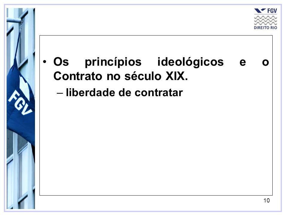 Os princípios ideológicos e o Contrato no século XIX.