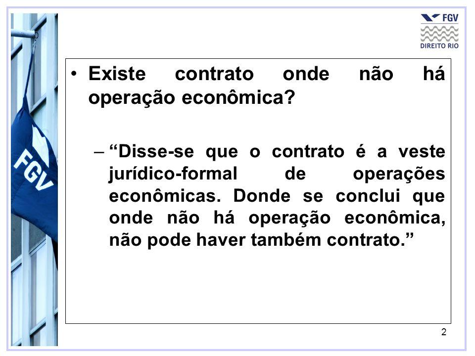 Existe contrato onde não há operação econômica