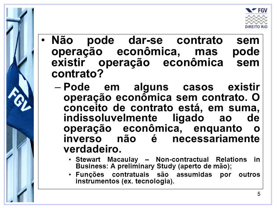 Não pode dar-se contrato sem operação econômica, mas pode existir operação econômica sem contrato