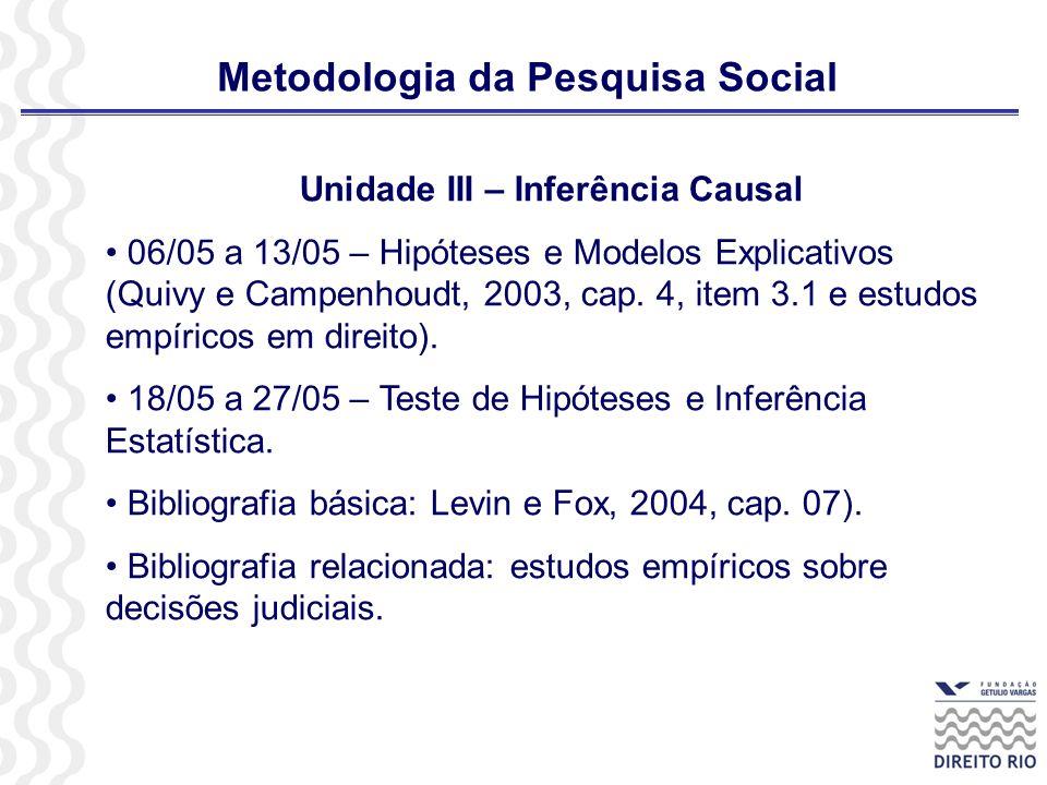 Metodologia da Pesquisa Social Unidade III – Inferência Causal