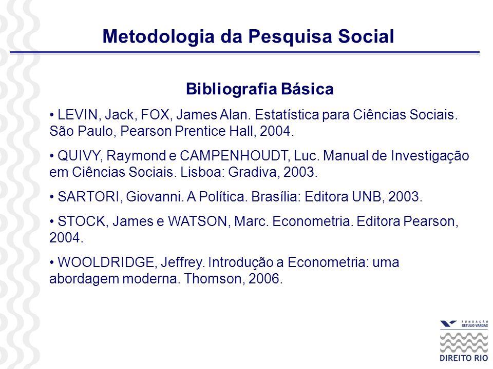 Metodologia da Pesquisa Social
