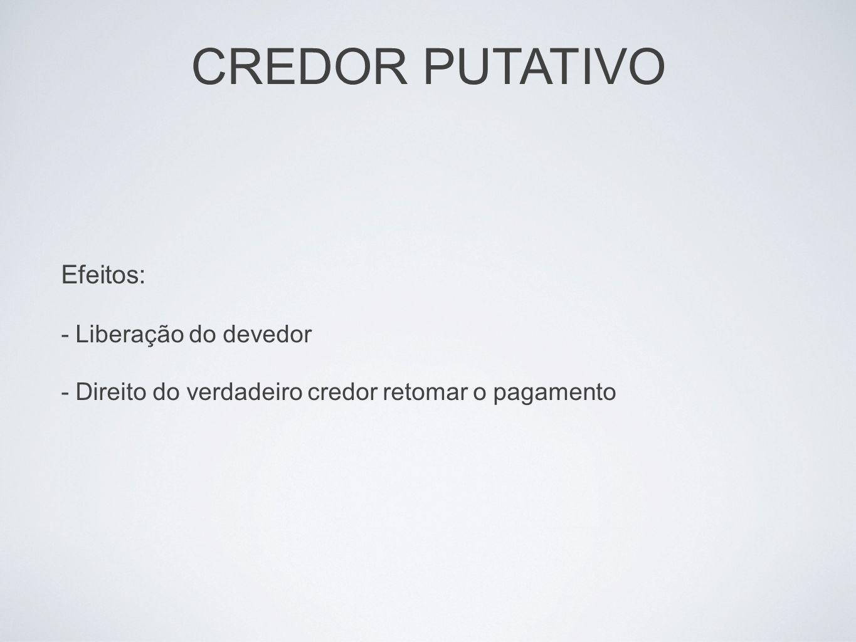 CREDOR PUTATIVO Efeitos: - Liberação do devedor