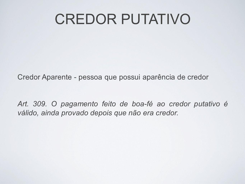 CREDOR PUTATIVO Credor Aparente - pessoa que possui aparência de credor.