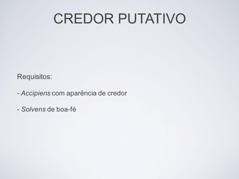 CREDOR PUTATIVO Requisitos: - Accipiens com aparência de credor