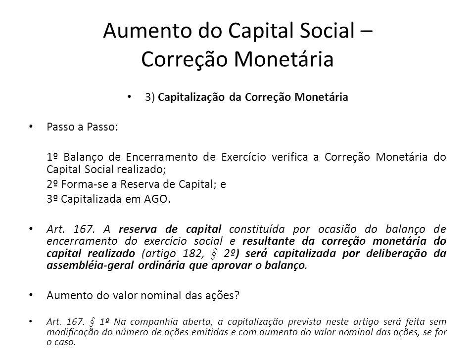 Aumento do Capital Social – Correção Monetária