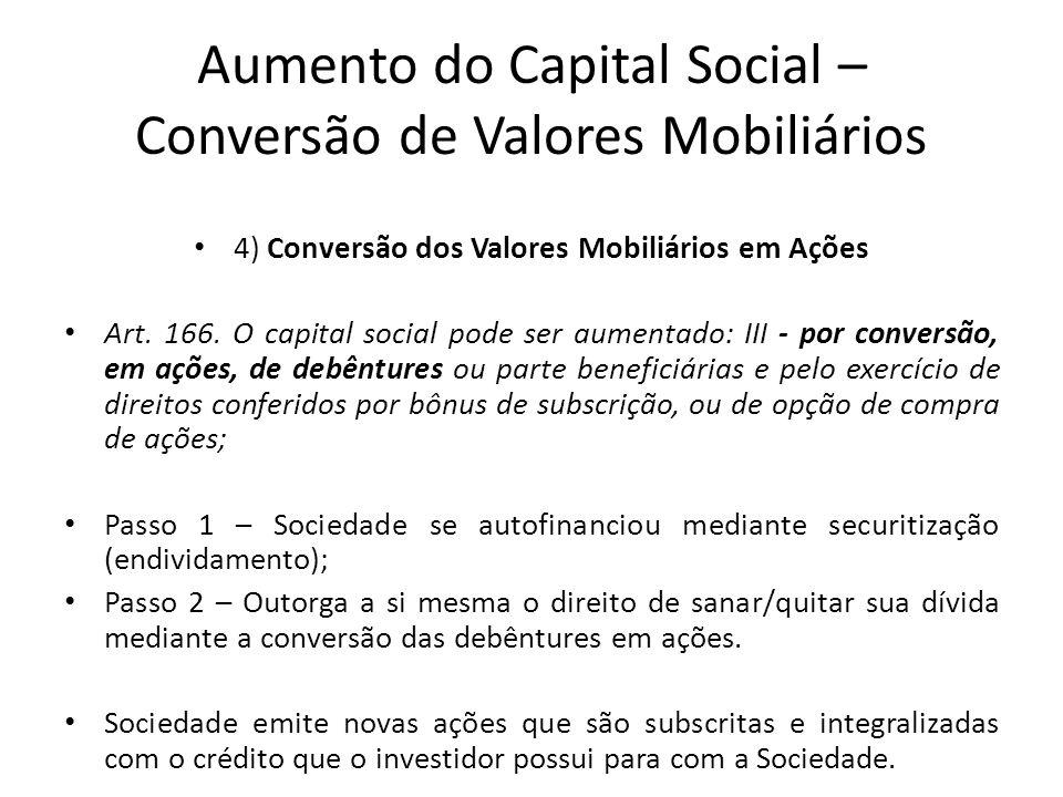 Aumento do Capital Social – Conversão de Valores Mobiliários