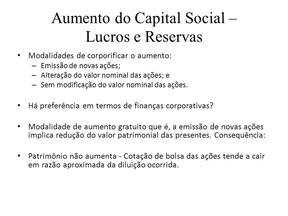 Aumento do Capital Social – Lucros e Reservas