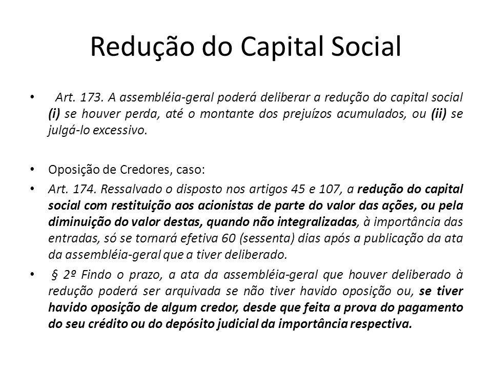 Redução do Capital Social