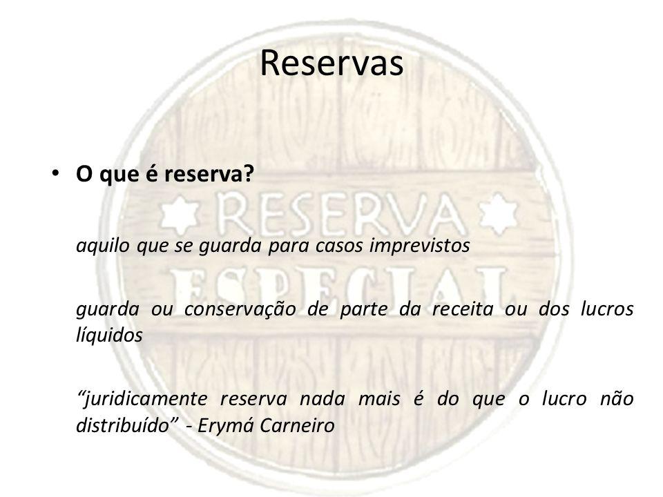 Reservas O que é reserva
