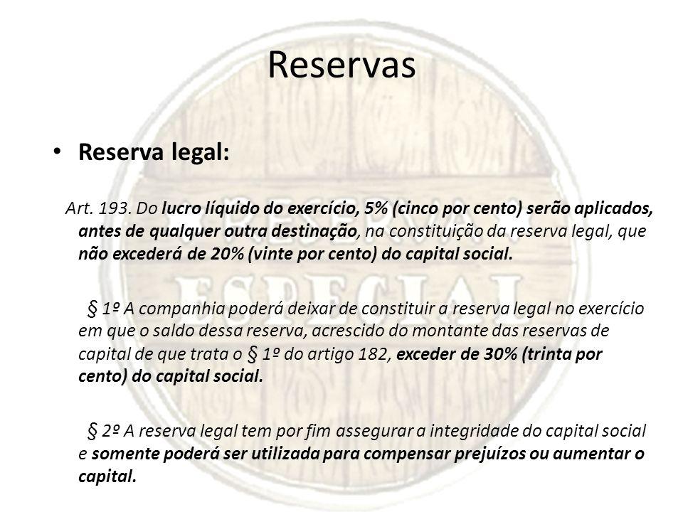 Reservas Reserva legal: