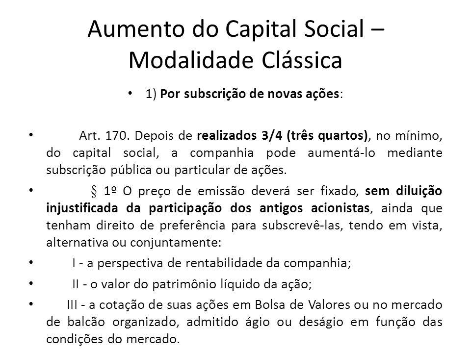 Aumento do Capital Social – Modalidade Clássica