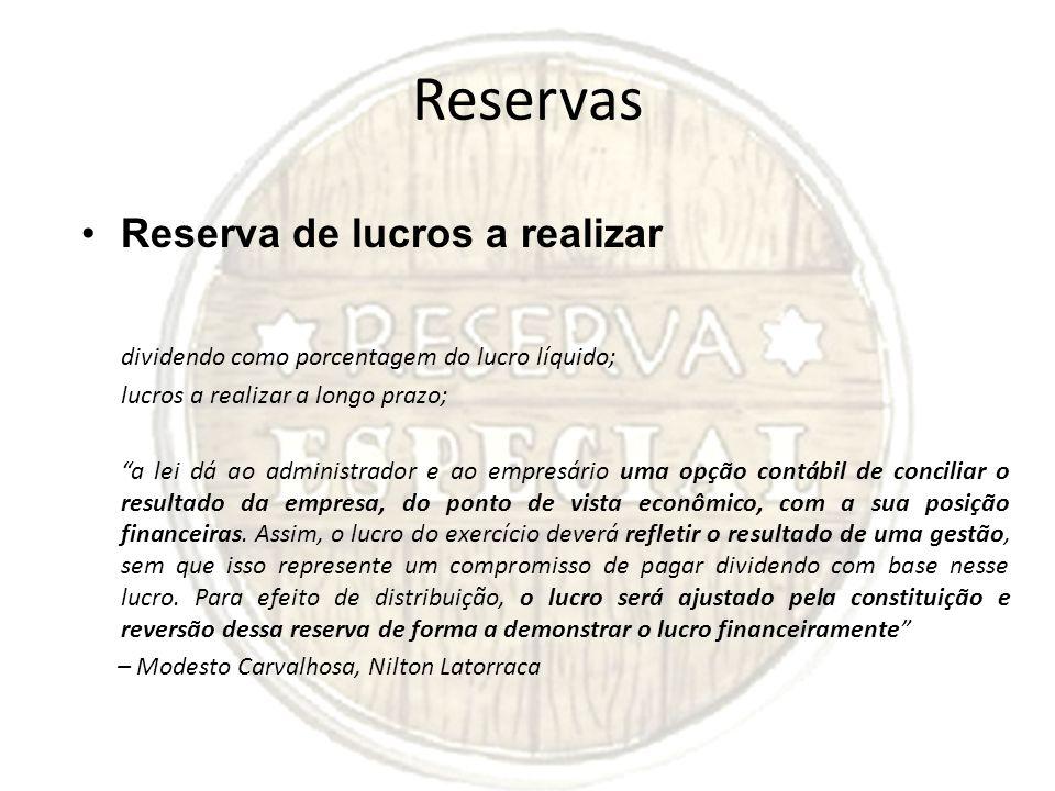 Reservas Reserva de lucros a realizar