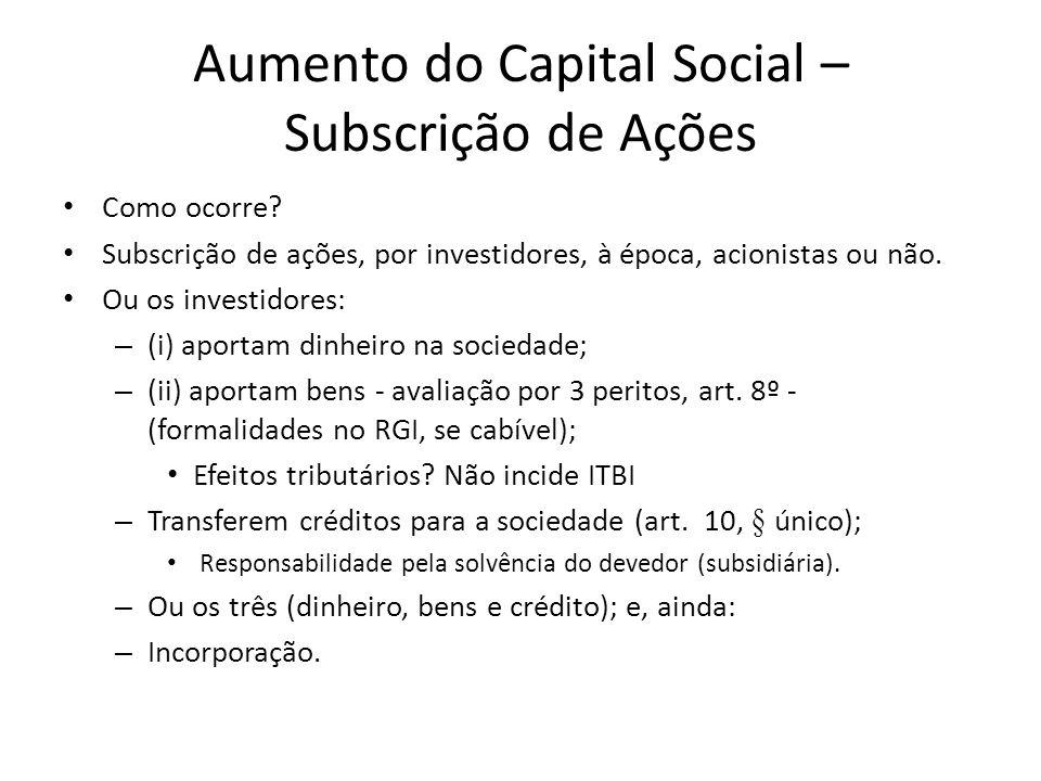 Aumento do Capital Social – Subscrição de Ações