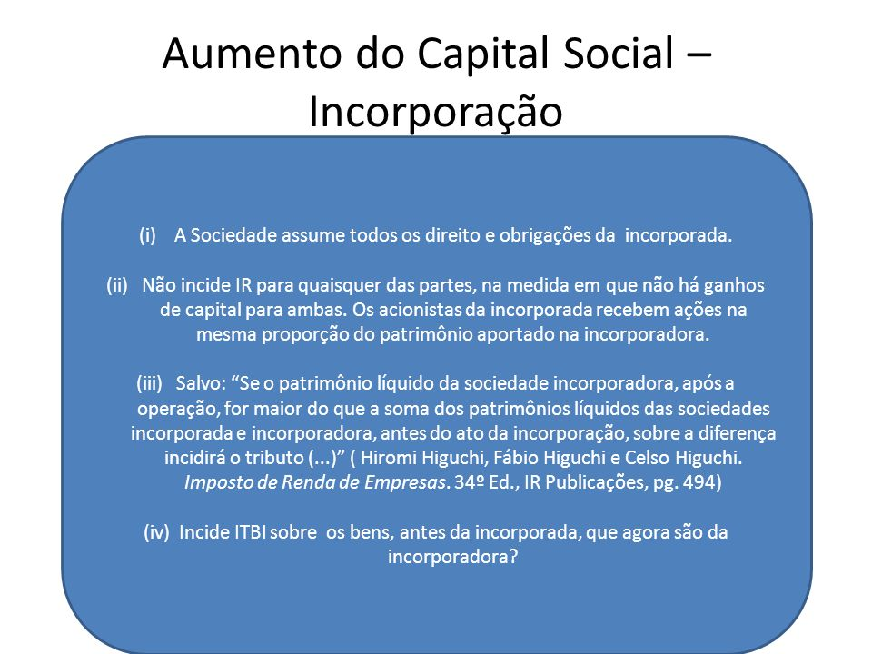 Aumento do Capital Social – Incorporação